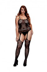 Bodystocking dla puszystych Baci - Jaquard Lace Suspender Bodysuit Queen Size